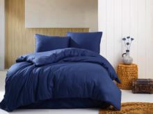 Deco Milano, Dekbedovertrek , hoog kwaliteit 100% Katoensatijn, NIGHT BLUE, Gestreept, 140 x 220 1X kussenslopen